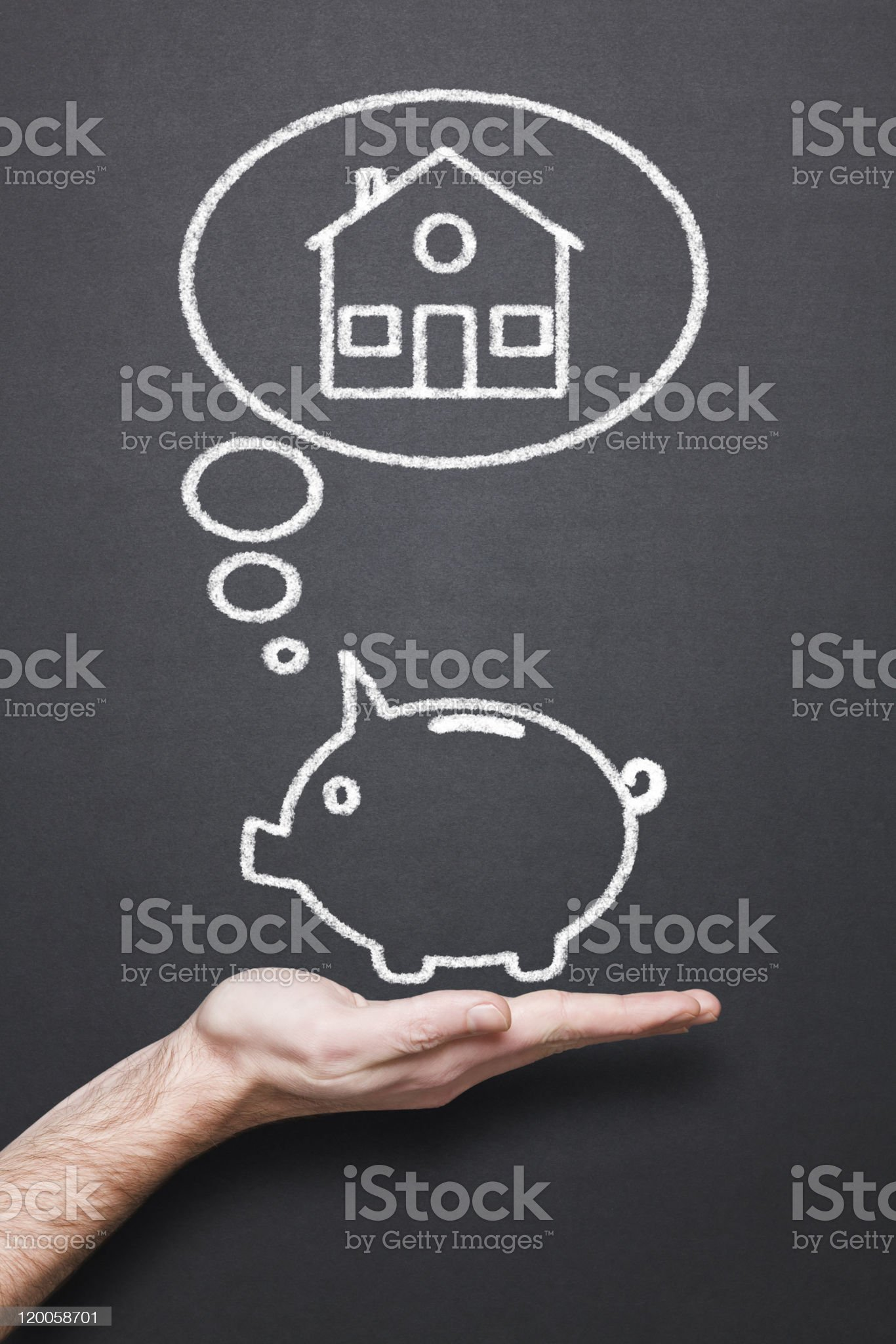 chalkboard with hand, piggy bank and thought bubble royalty-free stock photo