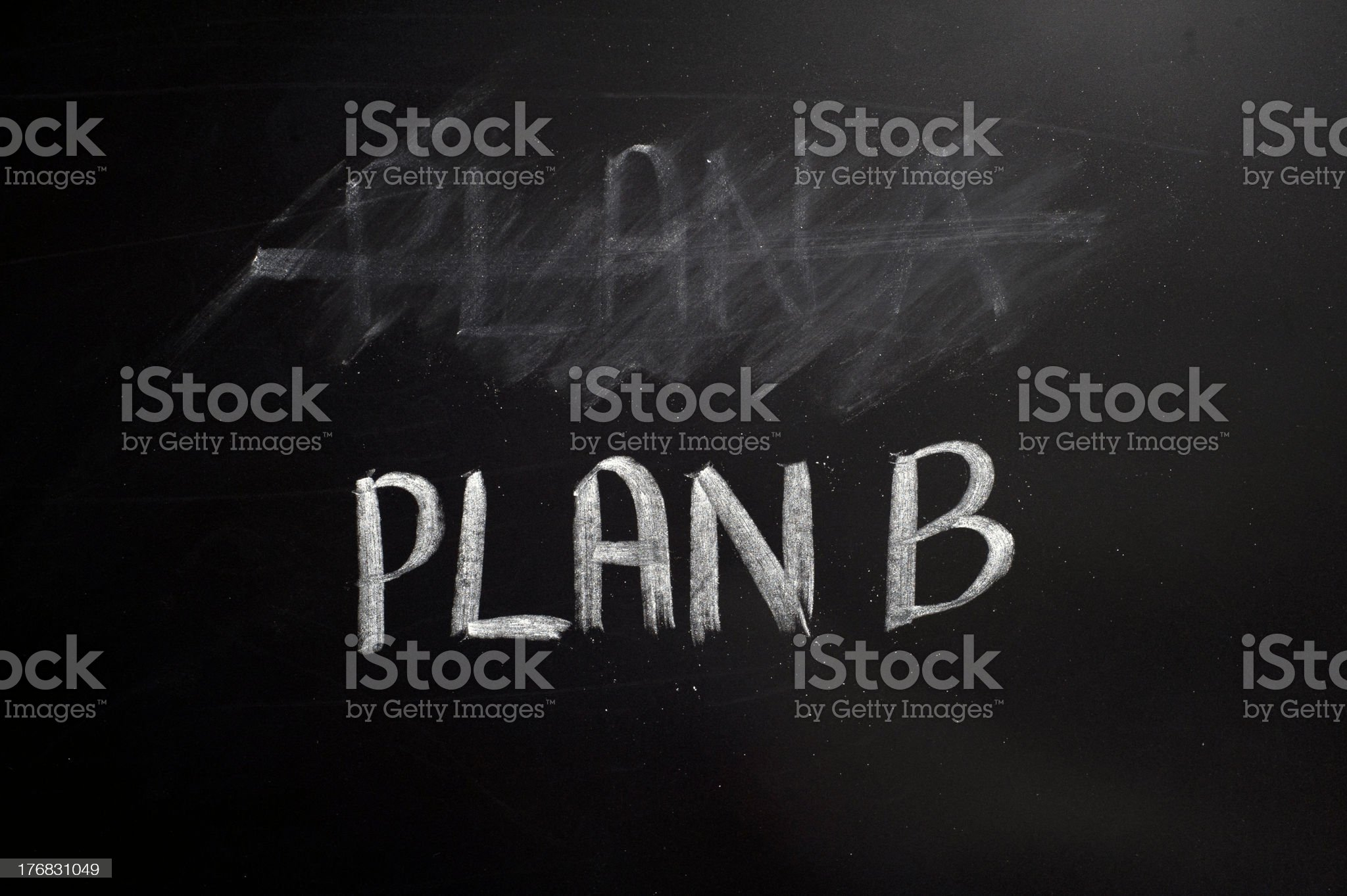 Chalkboard with plan A erased and plan B written below royalty-free stock photo