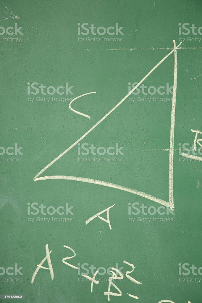Chalkboard with Pythagorean Theorem royalty-free stock photo