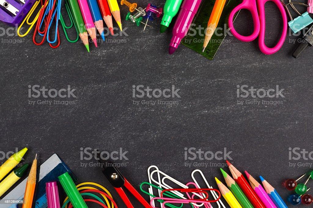 School supplies double border on a chalkboard background