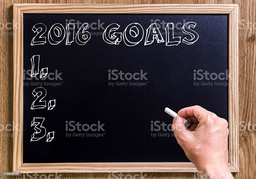 Chalkboard with text '2016 Goals' stock photo