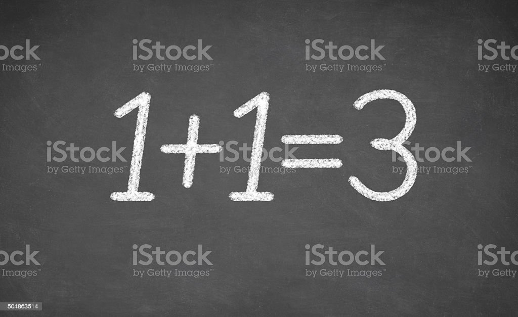 chalkboard with the words of one plus 1 equals three stock photo