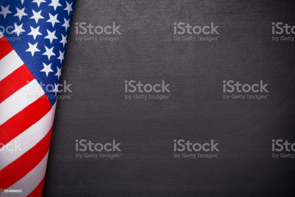 chalkboard with vintage American flag stock photo