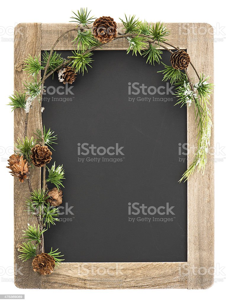 chalkboard with wooden frame and christmas decoration stock photo