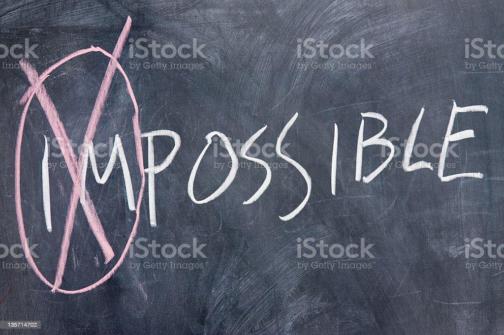 Chalkboard writing - impossible stock photo