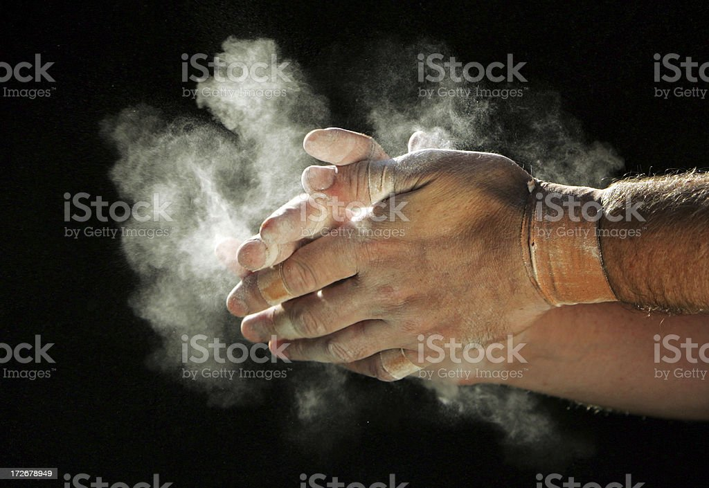 Chalking Hands stock photo