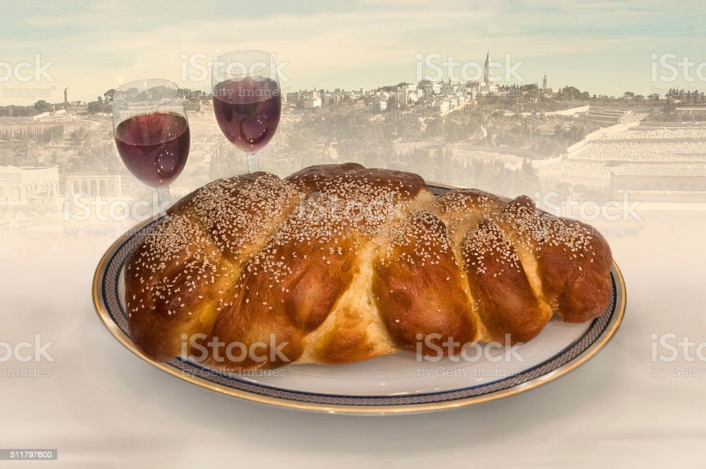 Challa and wine with Jerussalem in background stock photo