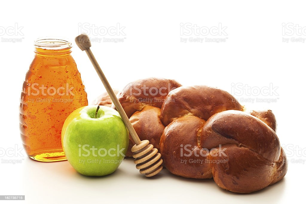 Challah and Honey stock photo