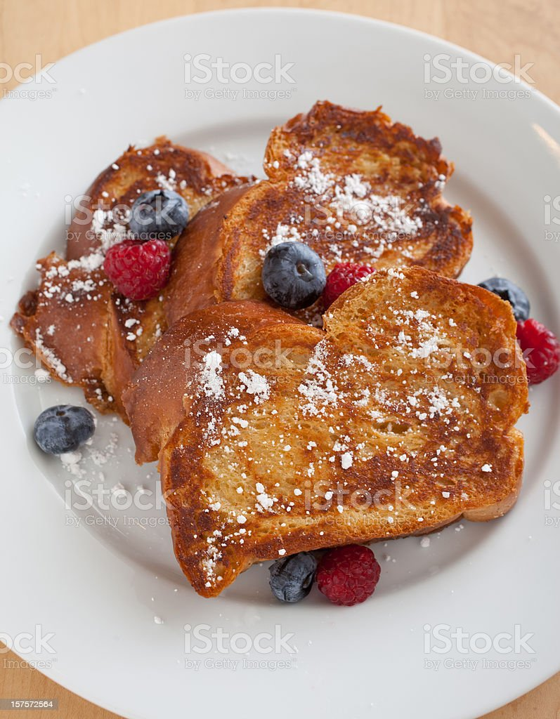 Challah French Toast with Blueberries and Raspberries stock photo