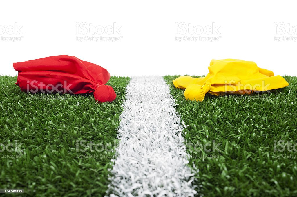 Challenge and Penalty Flags - American Football stock photo