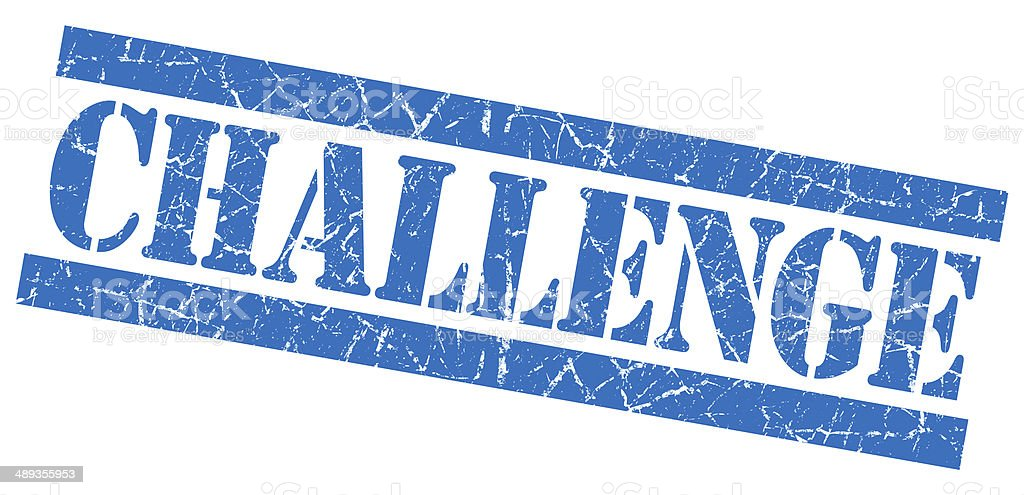 Challenge blue square grunge textured stamp isolated on white stock photo