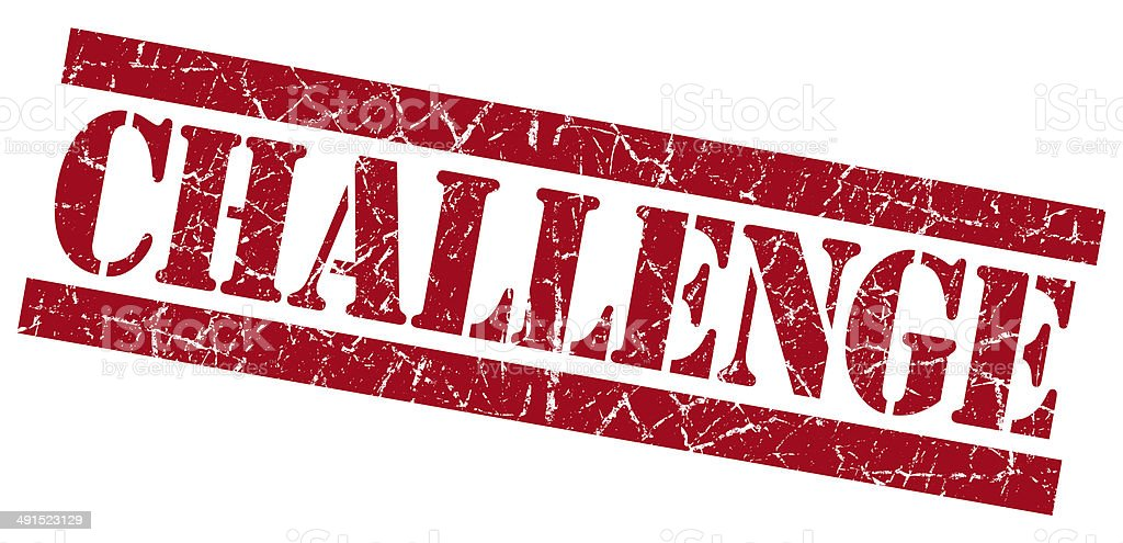 Challenge red square grunge textured stamp isolated on white stock photo