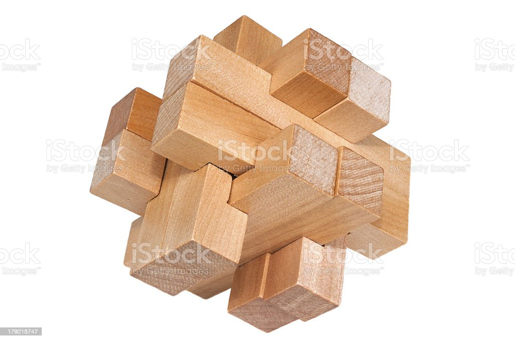 Challenging puzzle block of wooden parts royalty-free stock photo