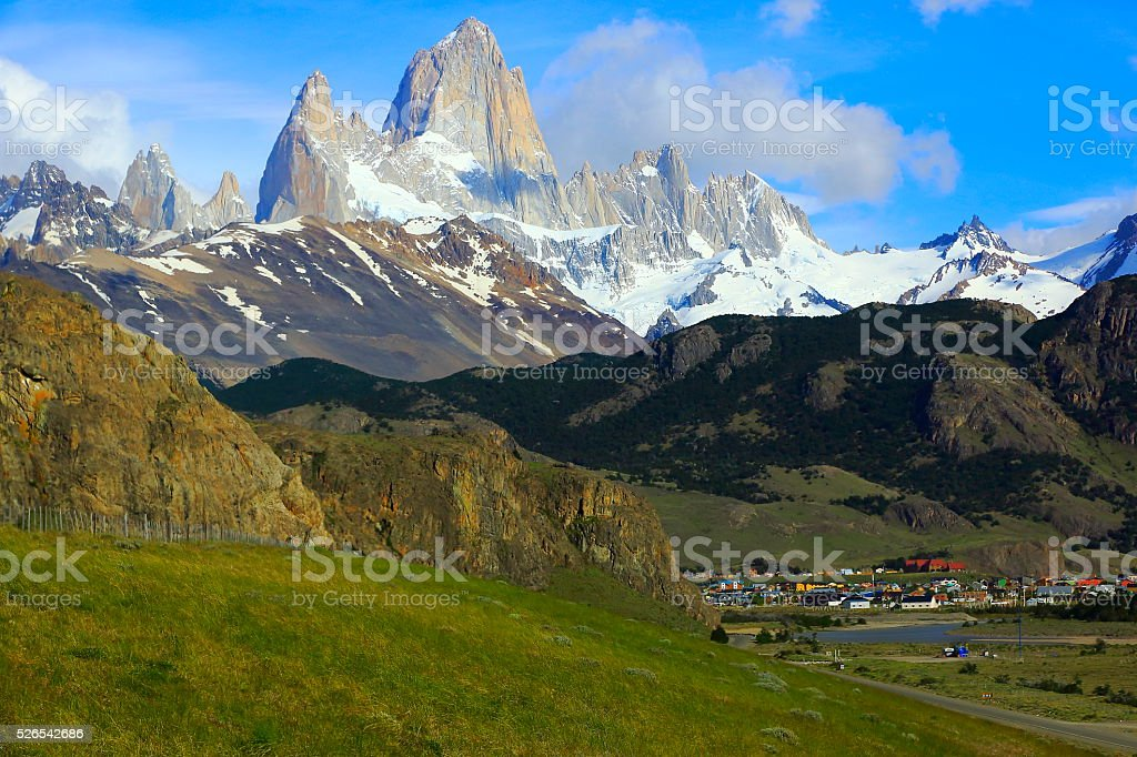 Chalten aerial view under Fitzroy, Patagonia Argentina, Glaciares stock photo