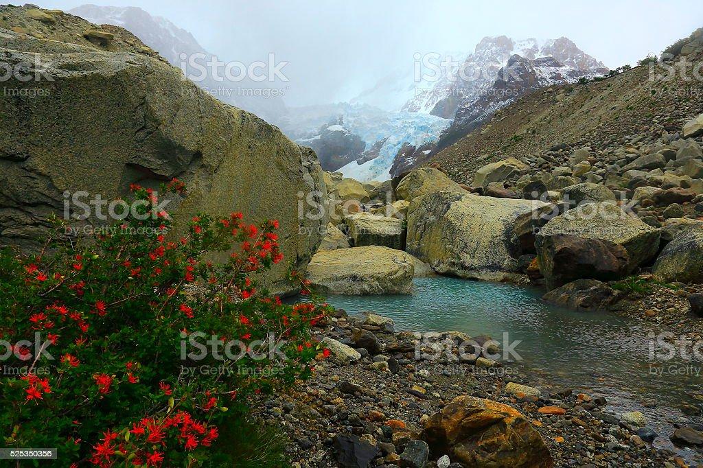 Chalten, Fitzroy glacier and lake, Patagonia Argentina, Los Glaciares stock photo