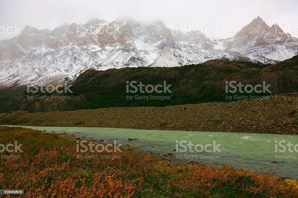 Chalten, Fitzroy mountain range river, Patagonia Argentina, Los Glaciares stock photo