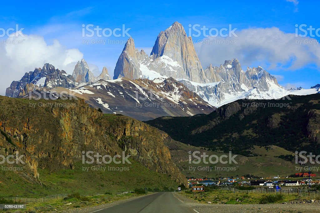 Chalten view from Road under Fitzroy, Patagonia Argentina, Glaciares stock photo