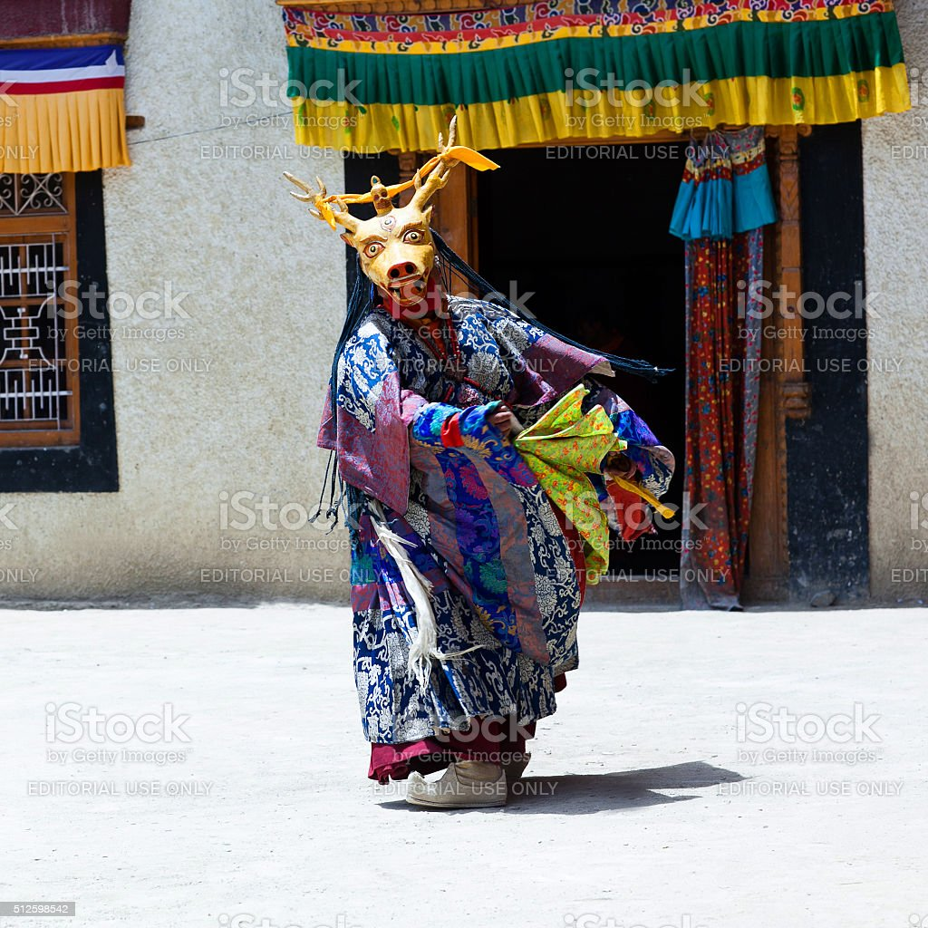 Cham Dance in Lamayuru Gompa in Ladakh, North India stock photo