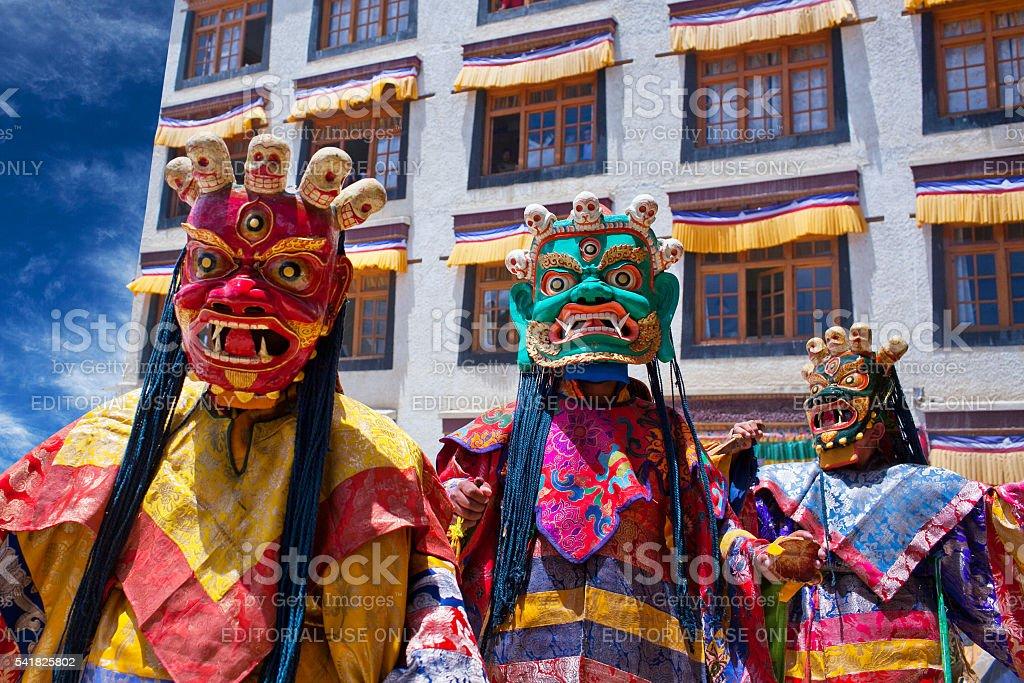 Cham Dance in Lamayuru Gompa in Ladakh, North India stock photo