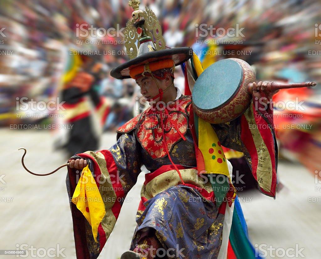 Cham Dancer - Paro Tsechu - Kingdom of Bhutan stock photo
