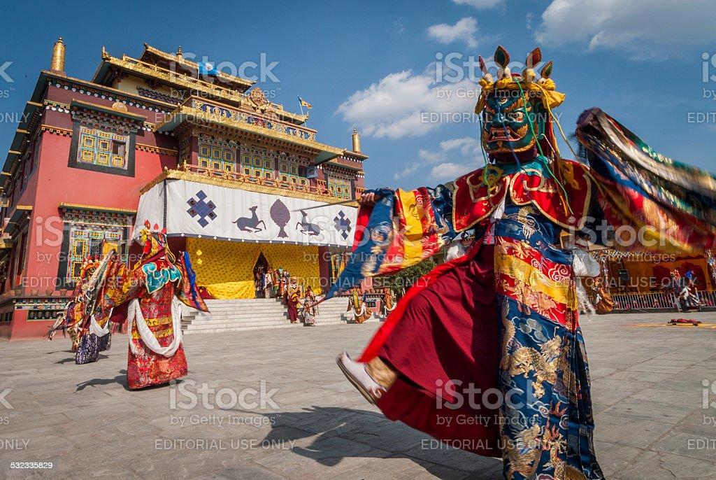 Cham Dancers, Shechen Monastery, Bodhnath, Kathmandu, Nepal stock photo