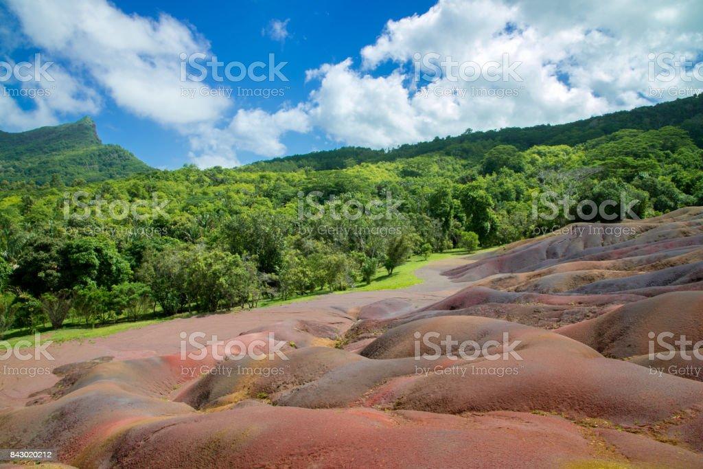 Chamarel Seven Coloured Earths Mauritius stock photo