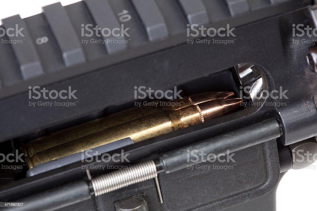 Chamber of a semi-automatic rifle royalty-free stock photo