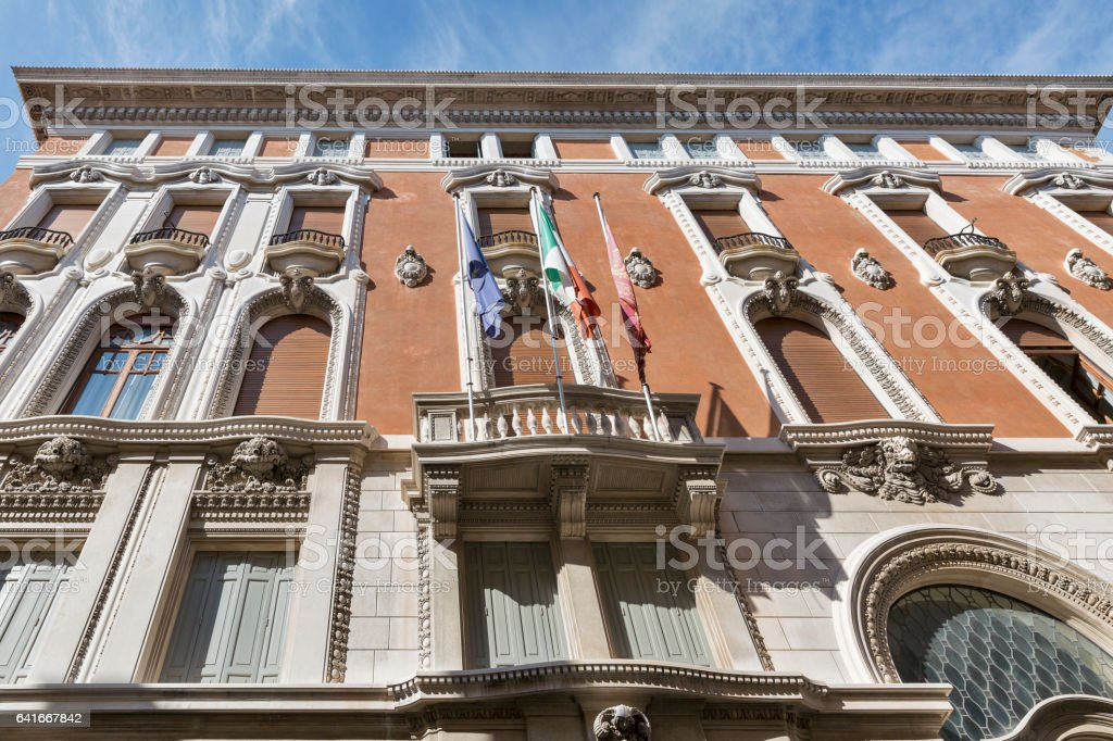 Chamber of Commerce building facade in Venice, Italy. stock photo