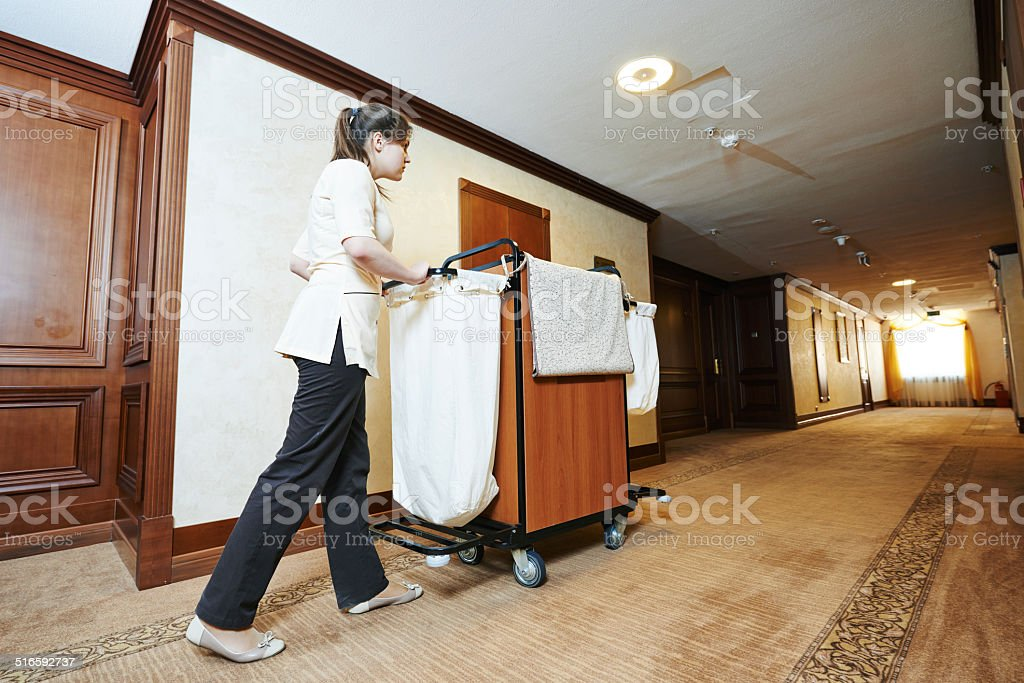 chambermaid at hotel stock photo