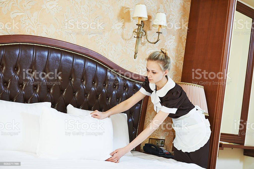 chambermaid woman at hotel service stock photo