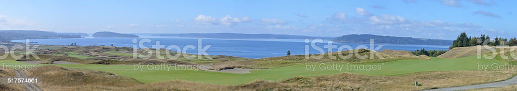 Chambers Bay Golf Course, Panoramic View stock photo