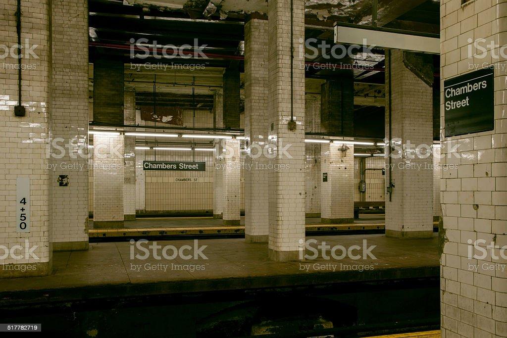 Chambers Street Subway Station New York City stock photo