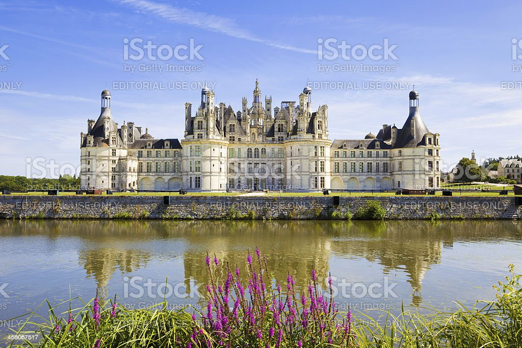 Chambord chateau panoramic from the canal stock photo