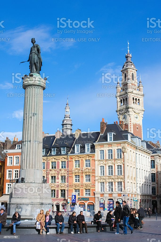 Chambre of Commerce and Statue of Deesse in Lille stock photo