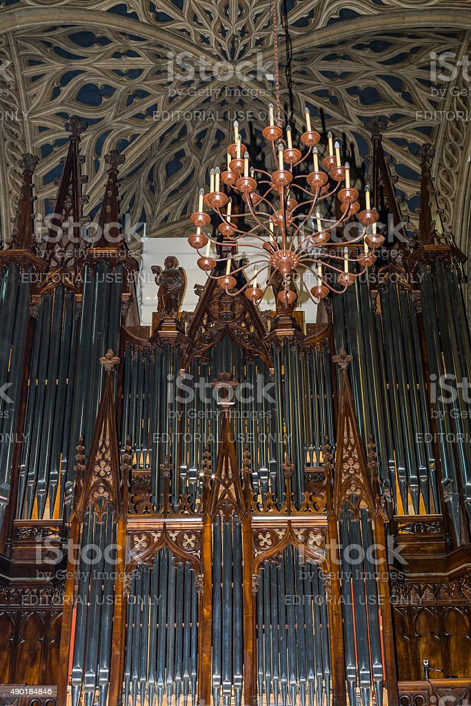 Chambéry (France). Pipe organ in the cathedral stock photo