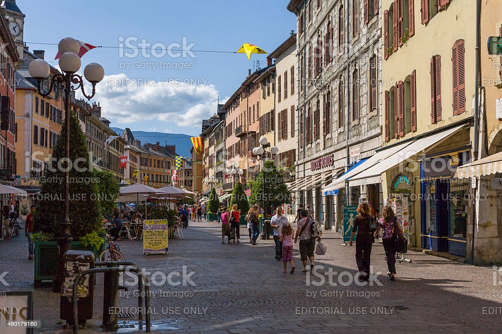 Chamb?ry (France). Tourists are strolling in Place Saint L?ger stock photo