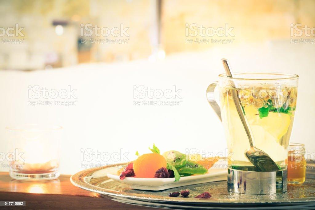 Chamomile tea near jacuzzi. Valentines background. Romance concept. Health concept stock photo