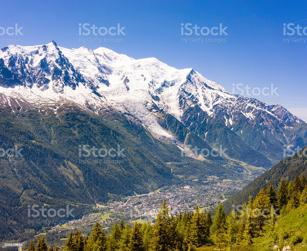 Chamonix and Mont Blanc in Summer stock photo