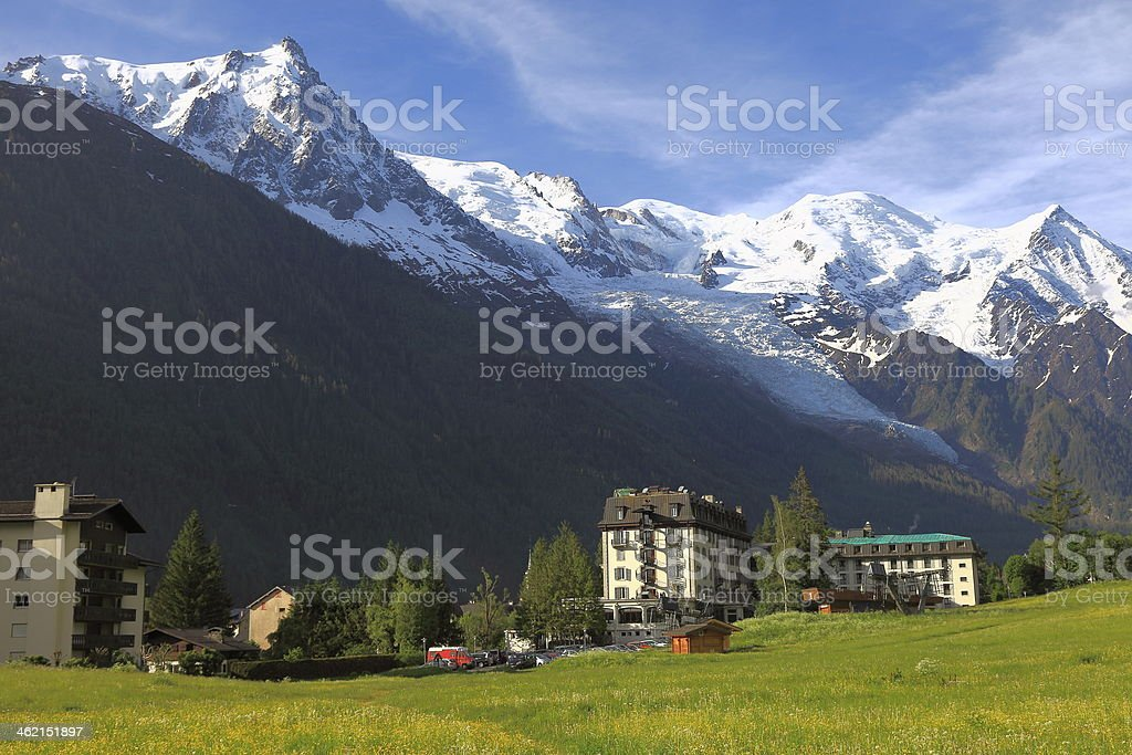 Chamonix and the Mont Blanc Massif stock photo