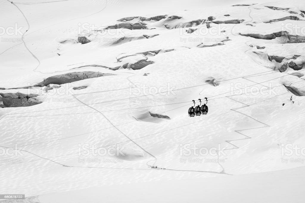Chamonix sightseeing lift on glacier stock photo