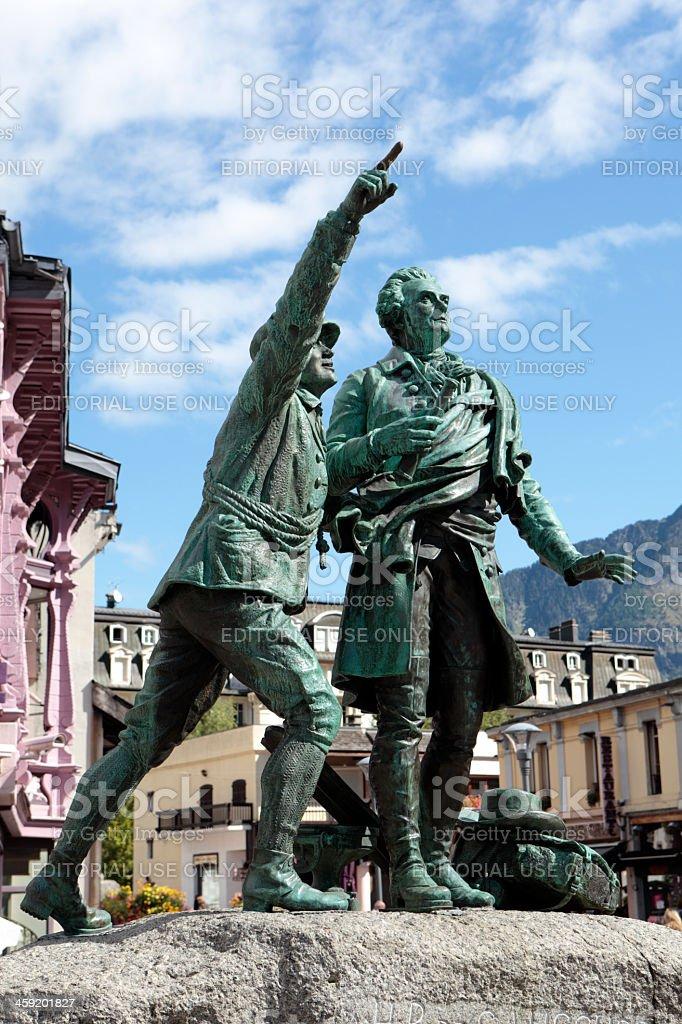 Chamonix statue stock photo