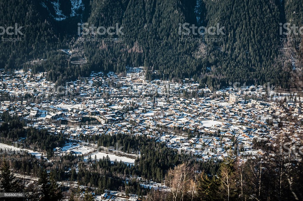 Chamonix town in French Alps during winter stock photo