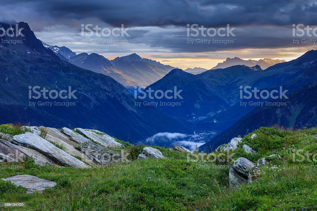 Chamonix valley in the clouds. France stock photo