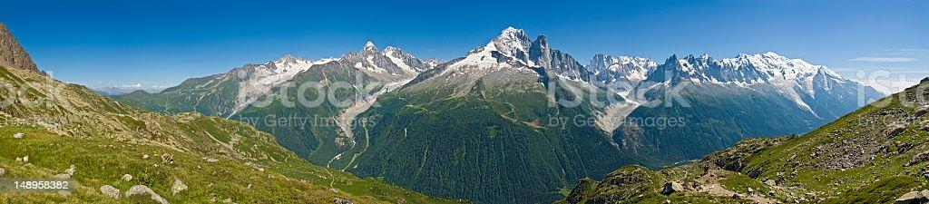 Chamonix valley Mont Blanc vista royalty-free stock photo