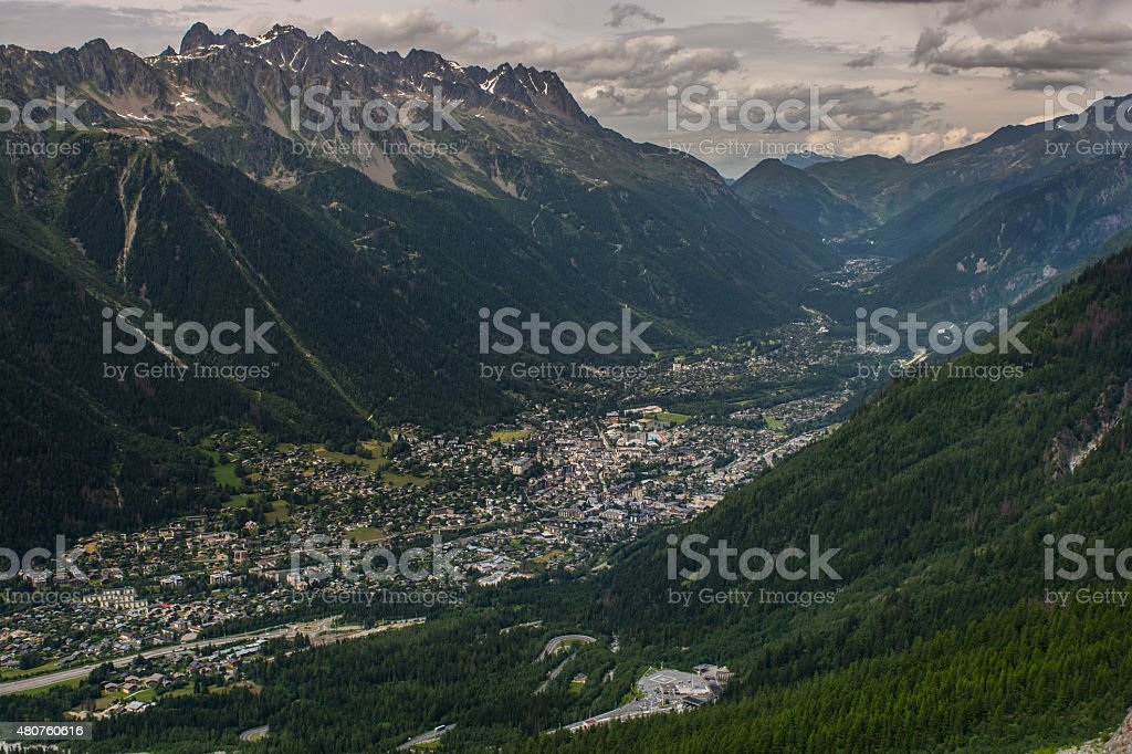 Chamonix village and valley, Aguilles Rouge stock photo