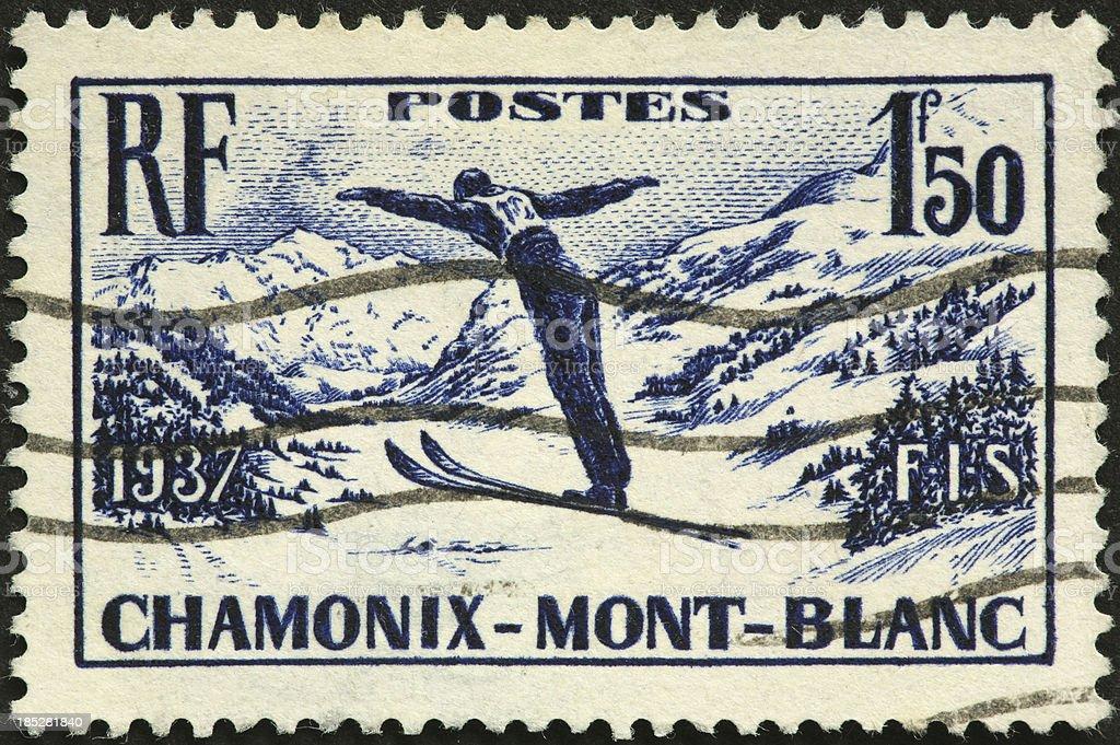 Chamonix-Mont Blanc vintage ski jumper royalty-free stock photo