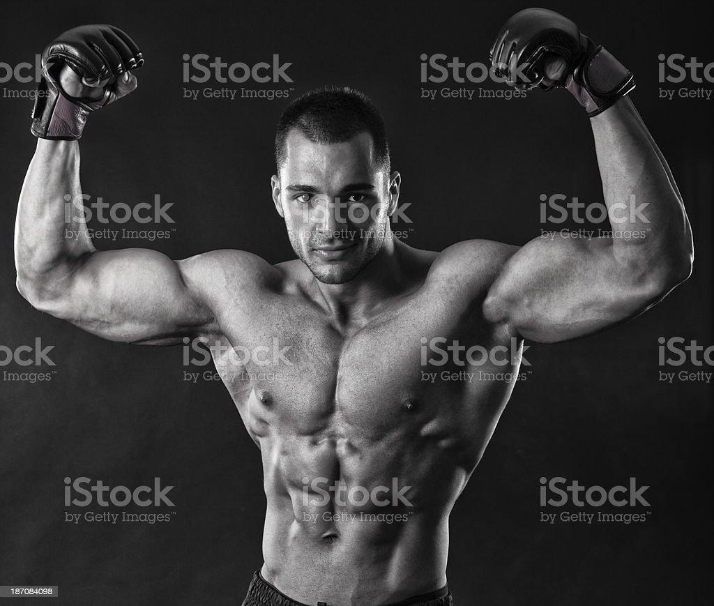MMA champ celebrates victory royalty-free stock photo