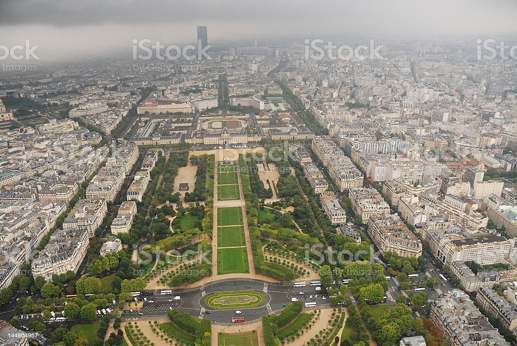 Champ de Mars view from the top of Eiffel Tower royalty-free stock photo