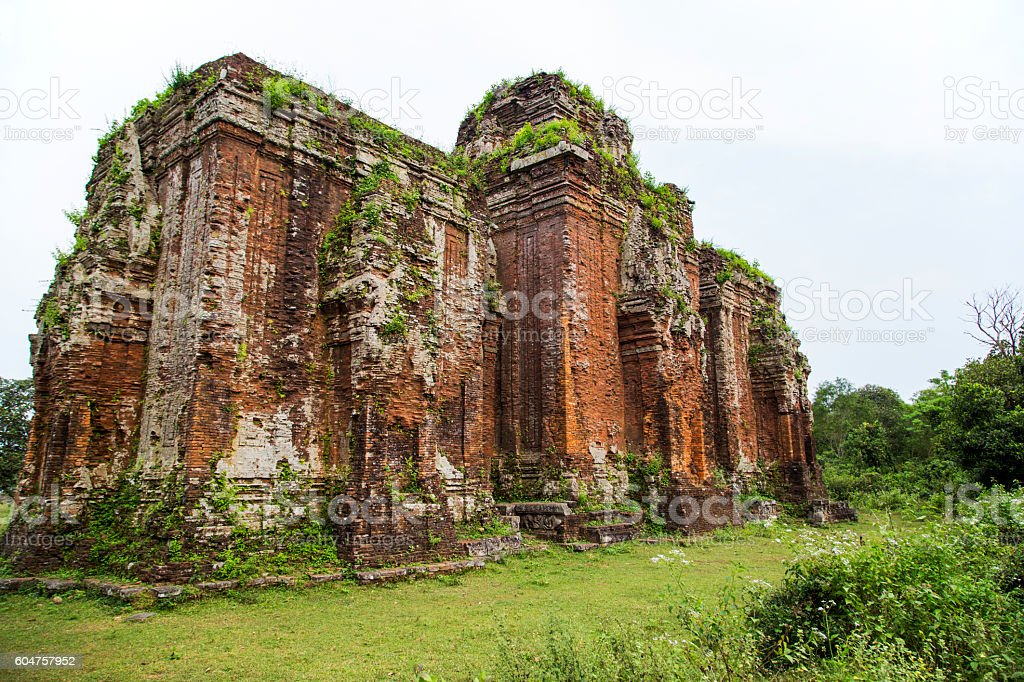 Champa ancient tower in Vietnam stock photo