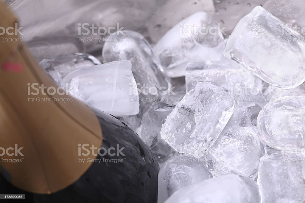 Champage Bottle in Ice Bucket royalty-free stock photo
